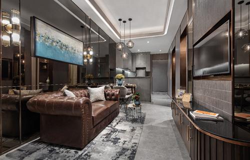 Thiết kế nội thất của căn hộ mẫu một phòng ngủ lấy cảm hứng từ hạt cà phê, một sản phẩm nổi tiếng của Việt Nam. Màu nâu đậm của hạt cà phê được biến tấu thành màu sắc chủ đạo của thiết kế nội thất trang nhã và nam tính, phù hợp với phong cách sống của những khách hàng độc thân.