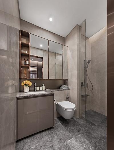 Sàn và tường nhà tắm đều lát đá cẩm thạch nhập khẩu. Thiết bị vệ sinh và phụ kiện mang thương hiệu hàng đầu thế giới Duravit và Axor.
