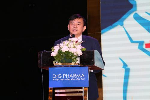 Ông Nguyễn Đình Anh - Vụ trưởng Vụ Truyền thông và Thi đua, khen thưởng (Bộ Y tế) phát biểu trong lễ công bố dây chuyền đạt chuẩn quốc tế của Dược Hậu Giang.
