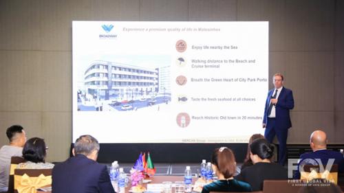 Ông Jerry Morgan (Chủ tịch Mercan Group) trình bày những điểm mạnh về dự án Broadway Hotel - Apart (được các chuyên gia đánh giá là một trong những dự án tiêu biểu nhất của chương trình Golden Visa.