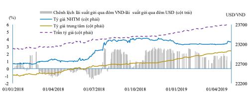 Diễn biến tỷ giá thời gian gần đây. Ảnh: BVSC, NHNN, Bloomberg