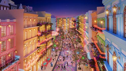 Phố đi bộ thuộc tổ hợp giải trí Mũi Né Summerland Resort lấy cảm hứng từ các trung tâm giải trí tại Las Vegas.