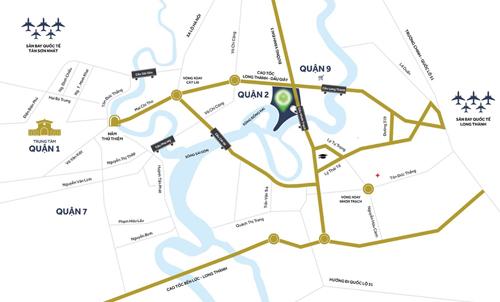 Dự án nằm ven sông quận 9 có vị trí thuận tiện dễ dàng kết nối đường bộ, thủy, hàng không