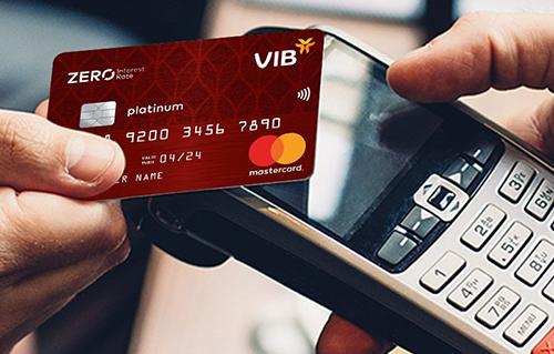 Thanh toán không tiếp xúc bằng thẻ tín dụng VIB.