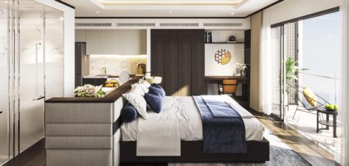 Với 450 triệu đầu tư ban đầu,khách hàng có thể sở hữu căn hộ nghỉ dưỡng hướngvịnh Hạ Long.