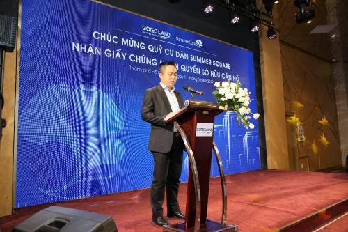 ông Nguyễn Diệp Anh - Giám đốc Pháp lý Gotec Land phát biểu tại sự kiện.