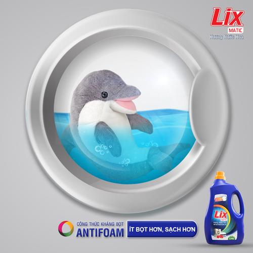 Nước giặt Lix Matic hương nước hoa phù hợp với máy giặt cửa trước.