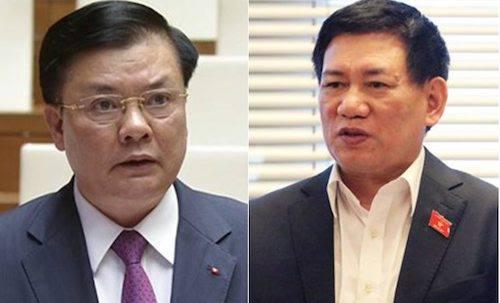 Bộ trưởng Tài chính Đinh Tiến Dũng (trái) và Tổng Kiểm toán Nhà nước Hồ Đức Phớc.