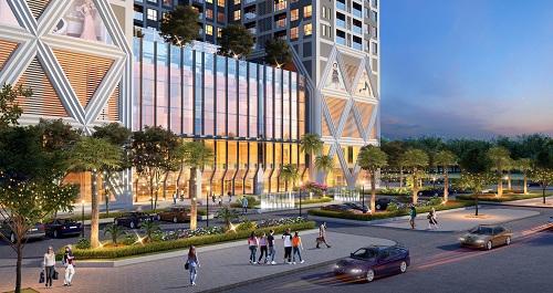 Dự án tiếp giáp với nhiều đường lớn của khu vực sầm uất Mỹ Đình, Hà Nội.