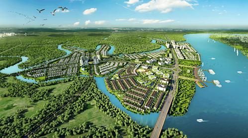 Với lợi thế mảng xanh hiện hữu rộng lớn, nhiều kênh rạch, Đồng Nai nói chung và thành phố Biên Hòa nói riêng có nhiều tiềm năng phát triển đô thị sinh thái. Ảnh phối cảnh khu đô thị Aqua City tại Long Hưng, Biên Hòa.