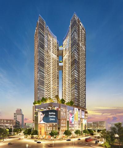 Phối cảnh Alpha Hill - tháp đôi 48 tầng tại quận 1, TP HCM.