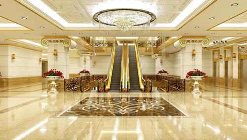 Khu vực sảnh với nhiều hạng mục dát vàng tại một dự án ở Hà Nội. Ảnh: CĐT