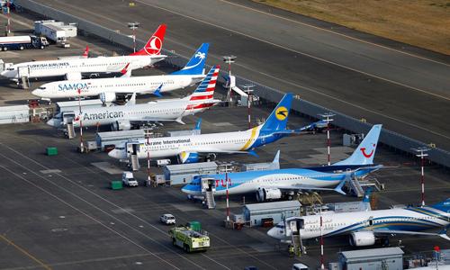 Các may bay 737 Max dừng hoạt động tại Seattle. Ảnh: Reuters