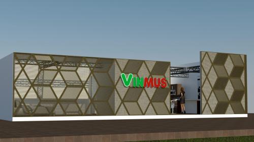 Thiết kế gian hàng Vinmus nổi bật bởi những tấm vách cắt CNC được được tạo hình tinh tế, sáng tạo.