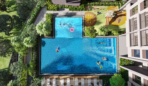 Hồ bơi trên cao với 2 khu dành cho trẻ em và người lớn