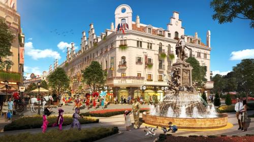 Quảng trường nội khu Shophouse Europe.