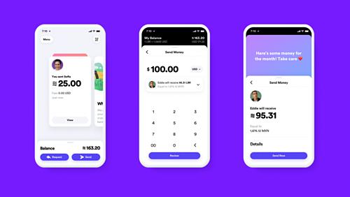 Minh họa việc chuyển tiền bằng Libra trên ứng dụng Calibra. Ảnh:Facebook