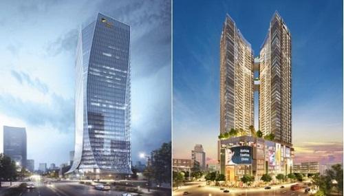 tháp đôi Alpha Hill 48 tầng cùng trung tâm thương mại Alpha Mall với thiết kế lấy cảm hứng từ kiến trúc nhà ống của Sài Gòn cùng tòa Alpha Town cảm tác thiết kế từ tà áo dài Việt Nam.