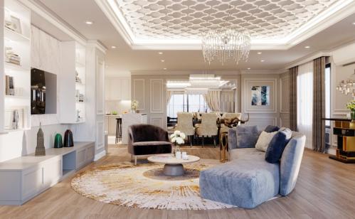 Phòng khách tại UDIC Westlake mang tới không gian thoải mái cho các gia đình nhiều người.