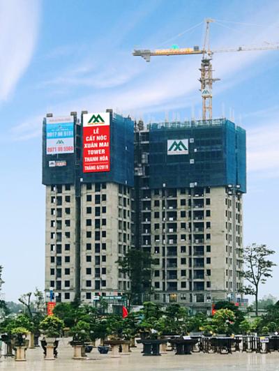 Dự án Xuân Mai Tower Thanh Hóa cất nóc đúng tiến độ, bảo đảm cam kết bàn giao nhà đúng hạn cho khách hàng.