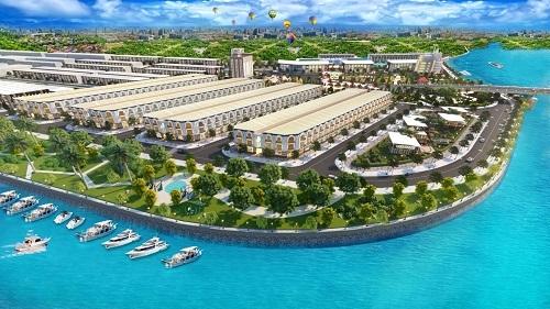Phối cảnh hơn 100 căn nhà phố hướng biển nằm trong Khu đô thị Phú Cường sắp ra mắt.