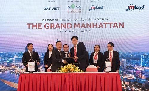 Lễ ký kết hợp tác phân phối dự án The Grand Manhattan giữa MLand Vietnam với chủ đầu tư và nhà phát triển dự án.