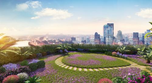 Vườn chân mây sở hữu tầm nhìn panorama ngắm toàn cảnh thành phố.