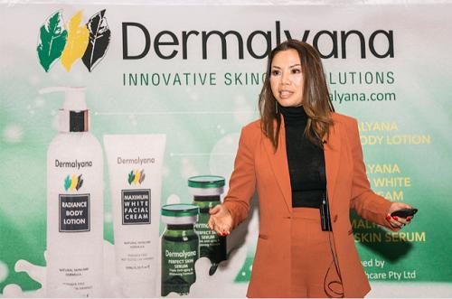 Nữ doanh nhân Lien Roges chia sẻ về dòng mỹ phẩm Dermalyana tại tiệc VIP tại khách sạn 6 sao ở thành phố perth, miền Tây Australia.