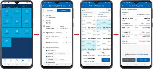 Mô tả các bước đặt vé máy bay trên ứng dụng Eximbank Mobile Banking. Thông tin chi tiết ưu đãi: tại đây.