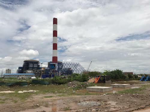 Bên ngoài dự án nhiệt điện Thái Bình 2 vào tháng 8/2018. Ảnh: Hoài Thu.