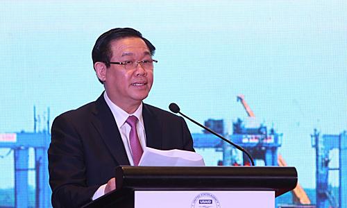Phó thủ tướng Vương Đình Huệ phát biểu tại sự kiện. Ảnh: VGP