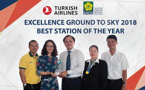 SAGS nhận giải Hạng nhất toàn cầu năm 2018 từ hãng Turkish Airlines