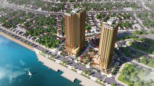 Phối cảnh tổ hợp tháp đôi Risemount Apartment và Movenpick Hotel.