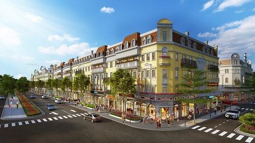 Dãy nhà phố thương mại theo phong cách bán cổ điển tại tiểu khu Silk Road.