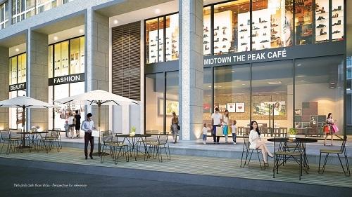 Shop The Peak được bố trí ở tầng trệt và tầng công trình, sở hữu các mặt hướng sông và quảng trường đô thị