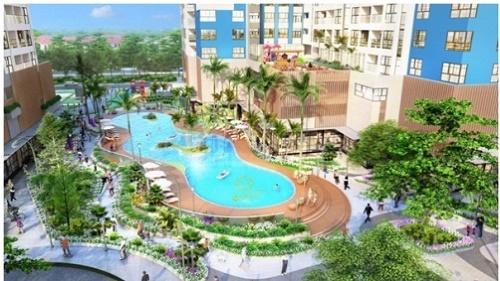 Phối cảnh tổ hợp khu hồ bơi hiện đại của dự án.
