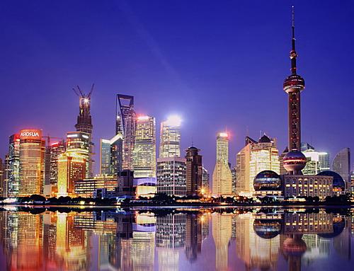 Ban đêm ở trung tâm thành phố Thượng Hải.