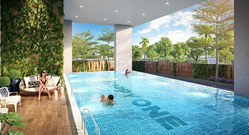 Hồ bơi tràn bờ trong không gian xanh, biệt lập là một trong những tiện ích thu hút khách hàng lựa chọn sở hữu căn hộ Happy One.