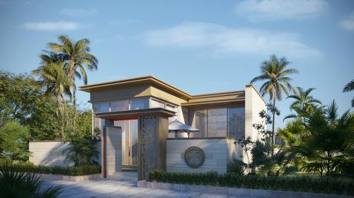 Mặt ngoài biệt thự dự án lấy cảm hứng thiết kế từhoa văn mỹ thuật cung đình Huế