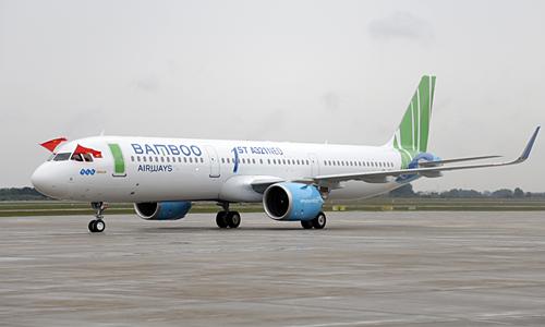 Máy bay A321neo của Bamboo Airways tại sân bay Nội Bài. Ảnh: Anh Tú