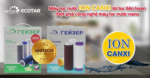 Máy lọc nước Ion canxi sử dụng lõi lọc liên hoàn mới nhất từ Liên bang Nga.