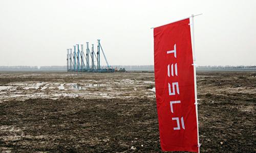 Khu vực Tesla đang xây nhà máy tại Thượng Hải. Ảnh: Bloomberg