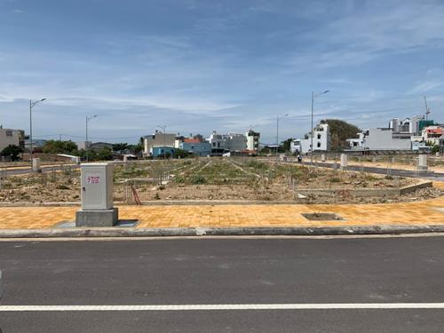 Một trong 49 lô đất nền tại dự án chụp từ đường nội bộ.