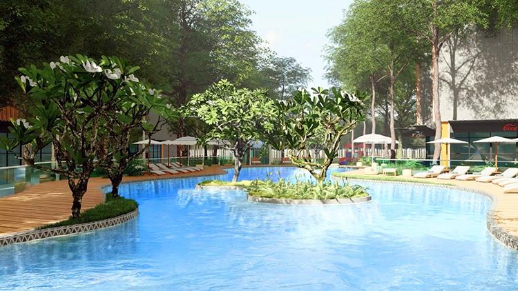 Tính cả chi phí cho không gian mặt nước, tổng chi phí đầu tư cho cây xanh và hồ bơi được dự kiến trên 90 tỷ đồng.