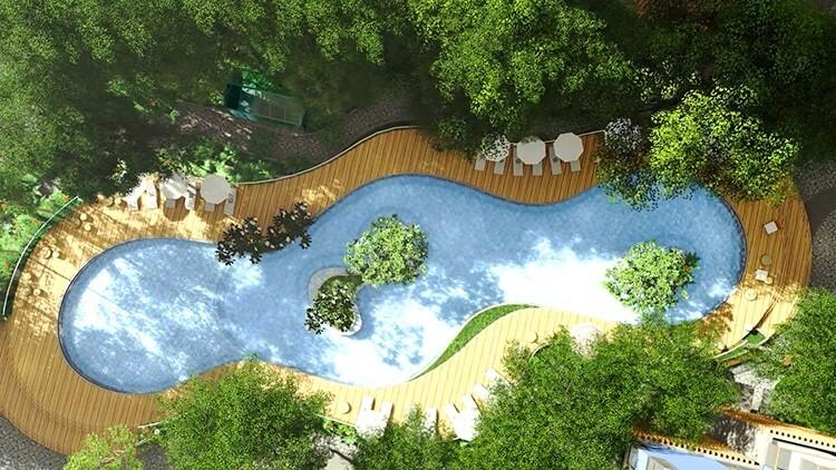 Hồ bơi ốc đảo có diện tích gần 1.000 m2 được thiết kế với những ốc đảo ngập tràn cây cối ngay giữa hồ bơi