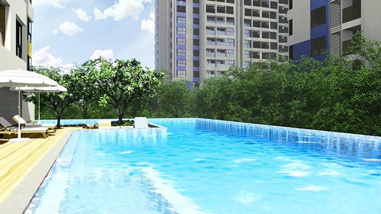 Hồ bơi tràn bờ rộng gần 500 m2 sở hữu tầm nhìn bao trọn không gian xanh mát của hồ bơi resort cùng tuyến phố đi bộ của Vincom Plaza.