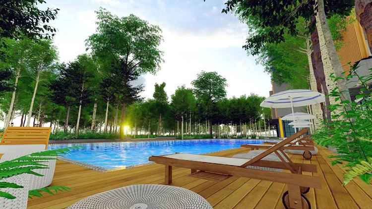 Khu hồ bơi tiêu chuẩn Olympic có diện tích tương tự, được thiết kế với không gian cây cỏ, thác nước cùng vườn thiền định hứa hẹn sẽ là điểm nhấn tại dự án.