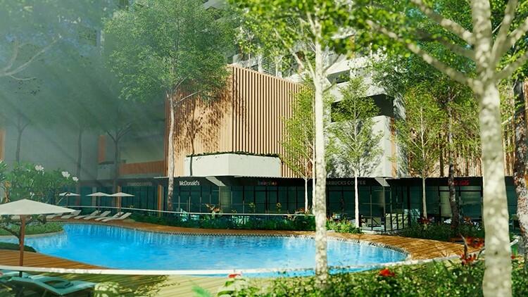 Bao quanh khu hồ bơi sẽ là dãy Lounge Bar và các quán ăn nhẹ, quán café hay khu vui chơi cho trẻ em. Khu vực này được thiết kế để các phụ huynh vừa có thể thư giãn, vừa có thể trông chừng trẻ nhỏ chơi đùa bên hồ bơi trẻ em.