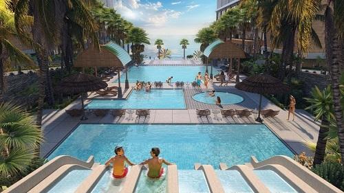 Bể bơi ngoài trời, một trong những tiện ích hiện đại, đa dạng tại Apec Mandala Wyndham Mũi Né.