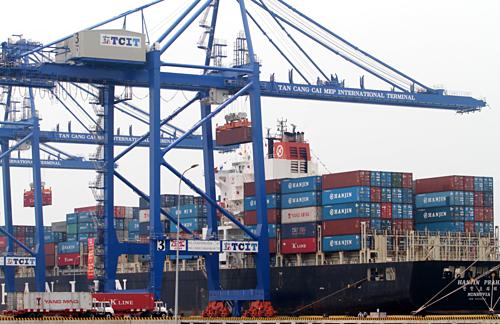 Bốc dỡ container ở Tân Cảng - Cái Mép.